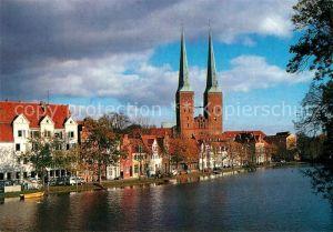 AK / Ansichtskarte Luebeck Obertrave mit Blick auf den Dom Hansestadt Luebeck