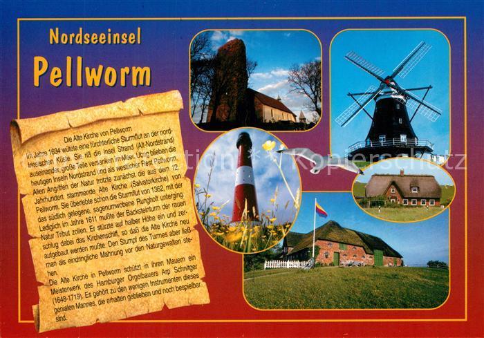 AK / Ansichtskarte Pellworm Kirche Windmuehle Leuchtturm Reetdachhaeuser Chronik Pellworm