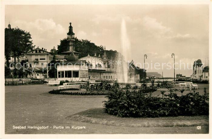 AK / Ansichtskarte Heringsdorf_Ostseebad_Usedom Partie im Kurpark Heringsdorf_Ostseebad