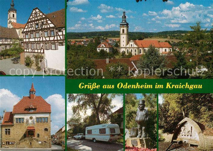 AK / Ansichtskarte Odenheim Pfarrkirche St Michael Amtshaus Rathaus Kraichgau Camping Wackerhof Linsabauch Statue Siegfriedsbrunnen Odenheim
