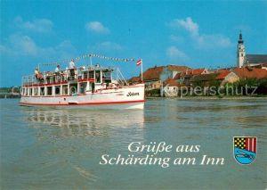 AK / Ansichtskarte Schaerding Grenzstadt am Inn Ausflugsschiff Helene Schaerding