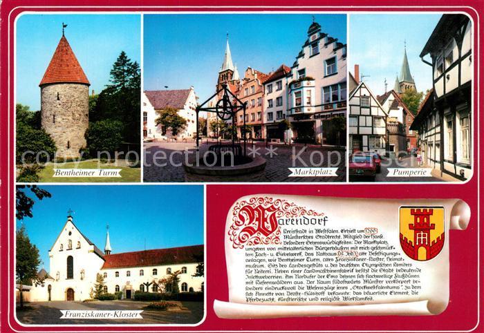 AK / Ansichtskarte Warendorf Marktplatz Pumperie Bentheimer Turm Franziskaner Kloster Chronik Warendorf