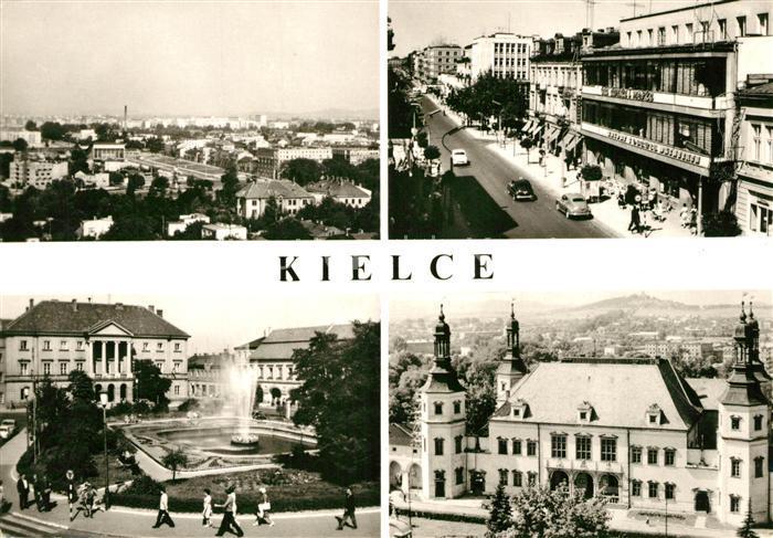 AK / Ansichtskarte Kielce Gesamtansicht Platz Fontaene Strassenpartie Praesidiumsgebaeude Kielce