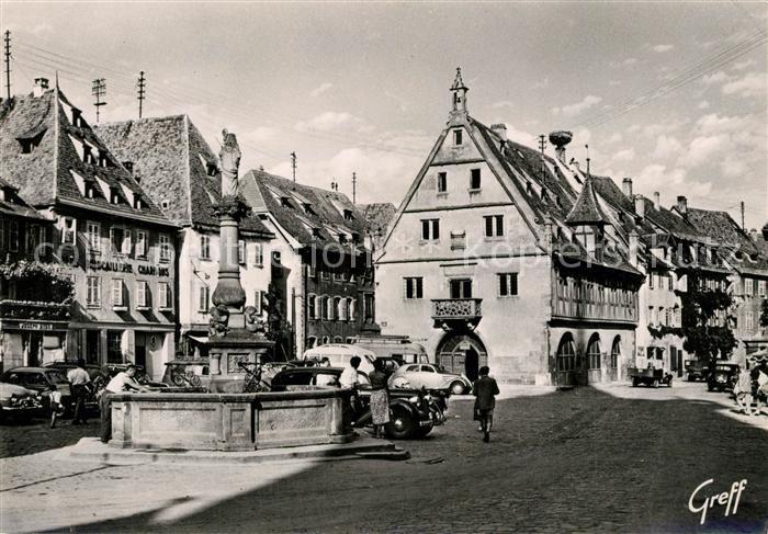 AK / Ansichtskarte Obernai_Bas_Rhin Place du Marche Fontaine de Sainte Odile Halle aux Bles Nid de Cigognes Obernai_Bas_Rhin
