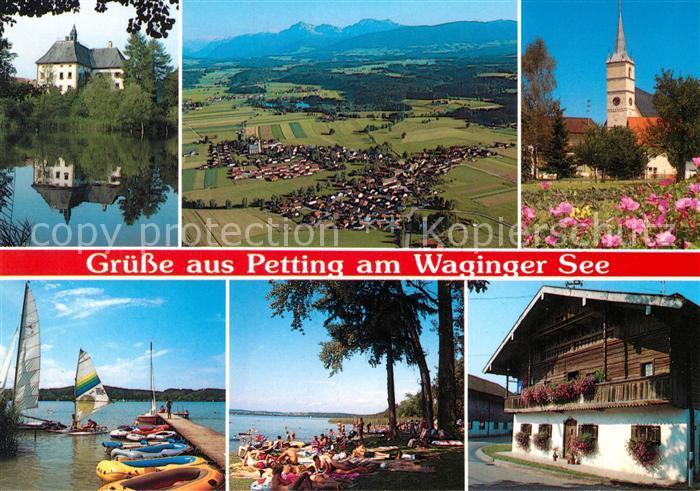 AK / Ansichtskarte Petting Schloss Seehaus Pfarrkirche Strandbad Kuehnhausen Bauernhaus Blick zum Hohenstaufen Fliegeraufnahme Petting