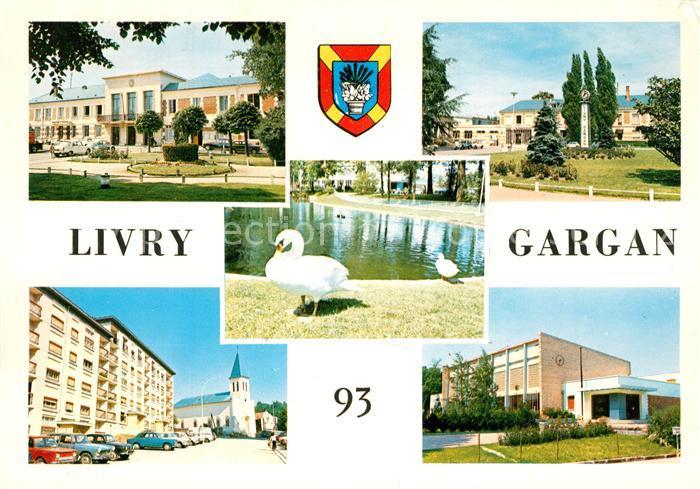 AK / Ansichtskarte Livry Gargan Hotel de Ville Place Jardin Public Eglise Piscine Livry Gargan