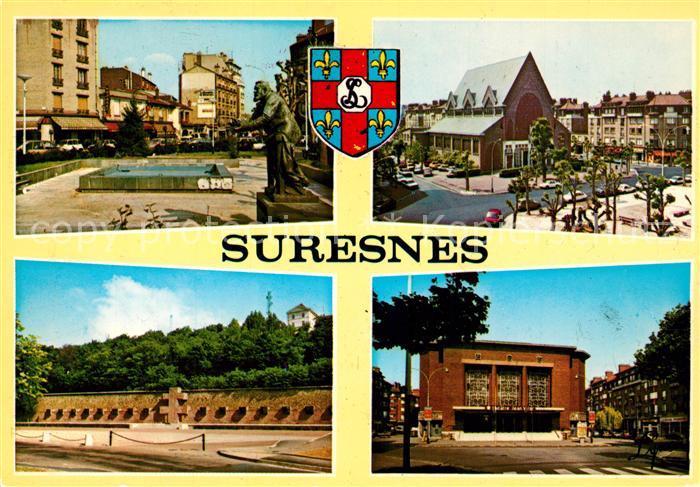 AK / Ansichtskarte Suresnes Avenue Jean Jaures Eglise Memorial du Mont Valerien Theatre Jean Vilar Suresnes
