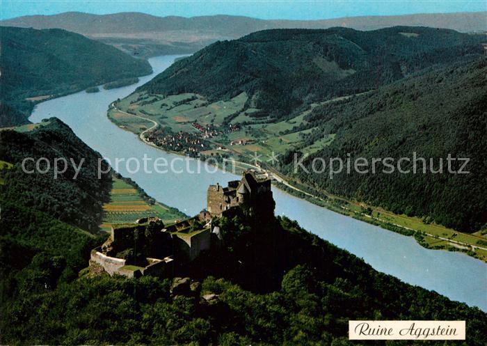 AK / Ansichtskarte Aggsbach Dorf Burgruine Aggstein in der Wachau Donau Fliegeraufnahme Aggsbach Dorf