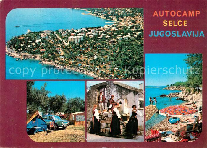 AK / Ansichtskarte Selce_Crikvenica Autocamp Trachten Strand Fliegeraufnahme Selce Crikvenica