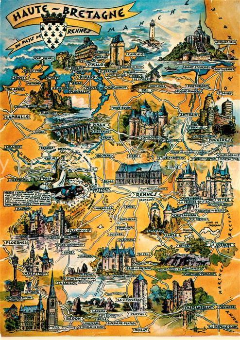 AK / Ansichtskarte Bretagne_Region Haute Bretagne Sehenswuerdigkeiten der Region Landkarte Bretagne Region