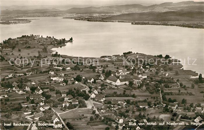 AK / Ansichtskarte Insel_Reichenau Fliegeraufnahme Niederzell Hegau Insel Reichenau