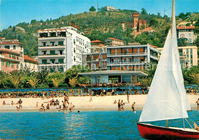 Ak Ansichtskarte Finale Ligure Grand Hotel Moroni Und Strand Finale Ligure