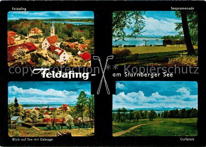 AK / Ansichtskarte Feldafing Ortsansicht mit Kirche Seepromenade Starnberger See Golfplatz Alpenpanorama Feldafing