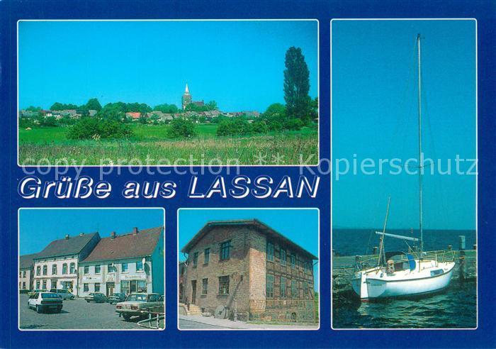 AK / Ansichtskarte Lassan Blick auf den Ort Markt Muehle Hafen Segelboot Lassan