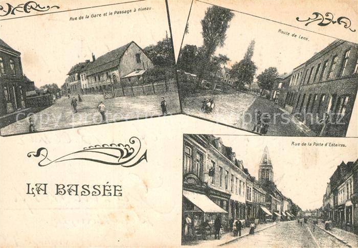AK / Ansichtskarte La_Bassee Rue de la Gare et le Passage a niveau Route de Lens Rue de la Porte d Estaires La_Bassee