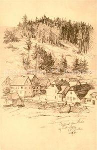 AK / Ansichtskarte Paulinzella Blick auf die Dorfstrasse von der Neuen Linde Zeichnung Paulinzella