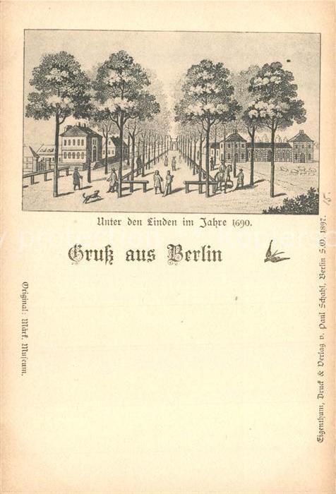 AK / Ansichtskarte Berlin Unter den Linden im Jahre 1690 Zeichnung Berlin