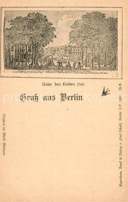 AK / Ansichtskarte Berlin Unter den Linden im Jahre 1740 Zeichnung Berlin