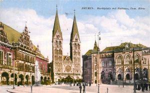 AK / Ansichtskarte Bremen Marktplatz mit Rathaus Dom und Boerse Bremen