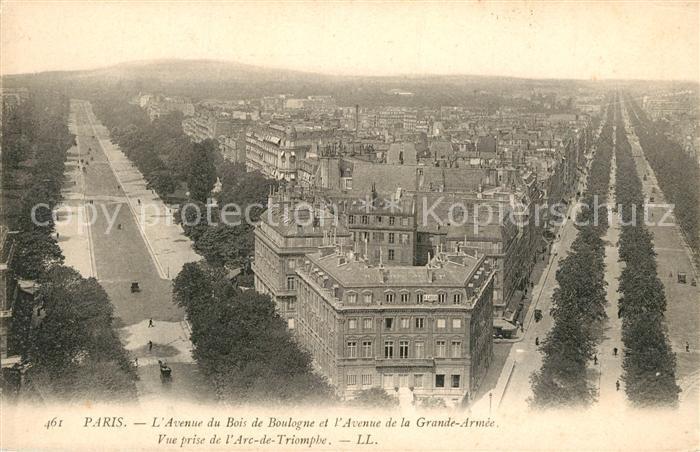 AK / Ansichtskarte Paris Avenue du Bois de Boulogne et l'Avenue de la Grande Armee Paris