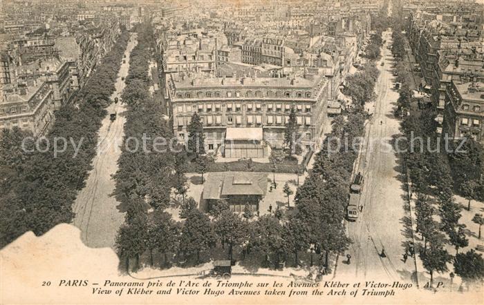 AK / Ansichtskarte Paris Panorama pris de l'Arc de Triomphe sur les Avenues Kleber et Victor Hugo Paris