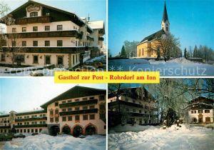 AK / Ansichtskarte Rohrdorf_Inn Gasthof zur Post Kirche im Winter Rohrdorf Inn