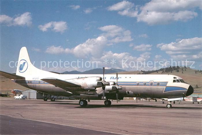 AK / Ansichtskarte Flugzeuge_Zivil Johnson Air Electra L 188A N7137C C N 1074 Flugzeuge Zivil