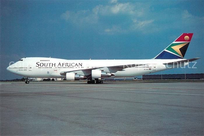 AK / Ansichtskarte Flugzeuge_Zivil South African Airways Boeing 747 244B ZS SAM Flugzeuge Zivil