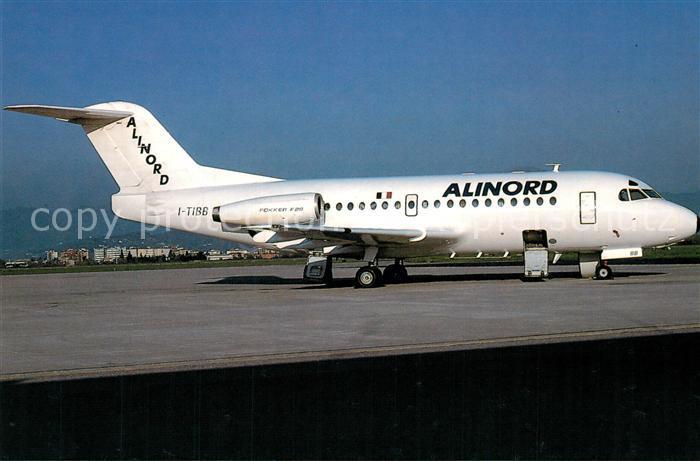 AK / Ansichtskarte Flugzeuge_Zivil Alinord Fokker F28 Mk 1000 I TIBB c n 11010 Flugzeuge Zivil