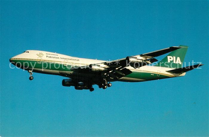 AK / Ansichtskarte Flugzeuge_Zivil Pakistan International Airlines Boeing 747 282B AP AYV c n 20928 Flugzeuge Zivil