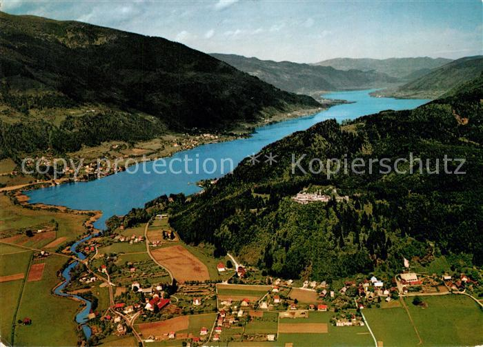 AK / Ansichtskarte Ossiachersee Fliegeraufnahme Ruine Landskron Ossiachersee