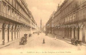 AK / Ansichtskarte Paris La Rue Castiglione et la Colonne Vendome Paris