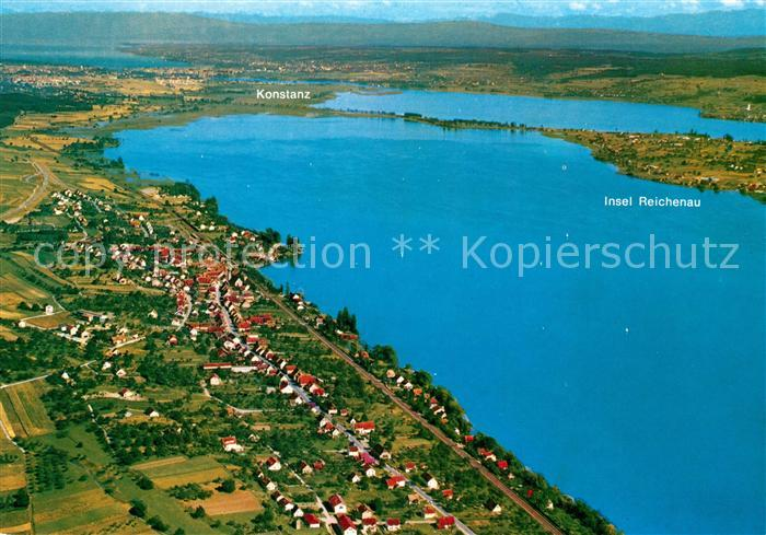 AK / Ansichtskarte Allensbach_Bodensee Untersee Insel Reichenau Konstanz Fliegeraufnahme Allensbach_Bodensee 0