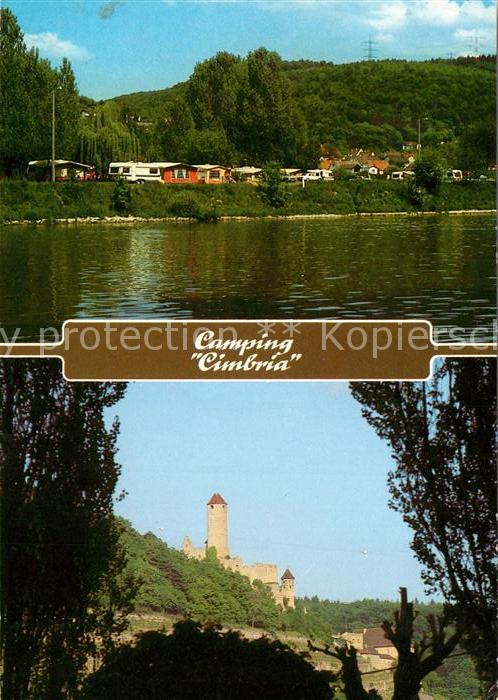 AK / Ansichtskarte Neckarzimmern Camping Cimbria am Neckar Burg Hornberg Neckarzimmern