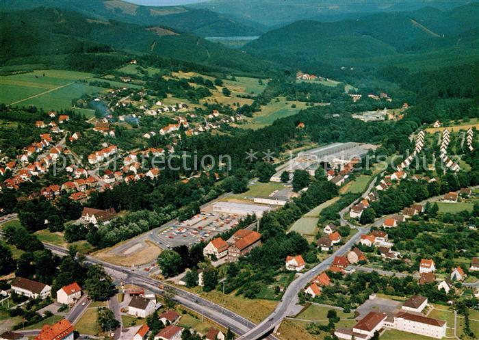 AK / Ansichtskarte Osterode_Harz Nordostteil der Stadt Soesetal Harberge Soesetalsperre Fliegeraufnahme Osterode_Harz