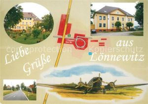 AK / Ansichtskarte Loennewitz_Kossdorf Gaststaette Pension Landstrasse Propellerflugzeug Zeichnung