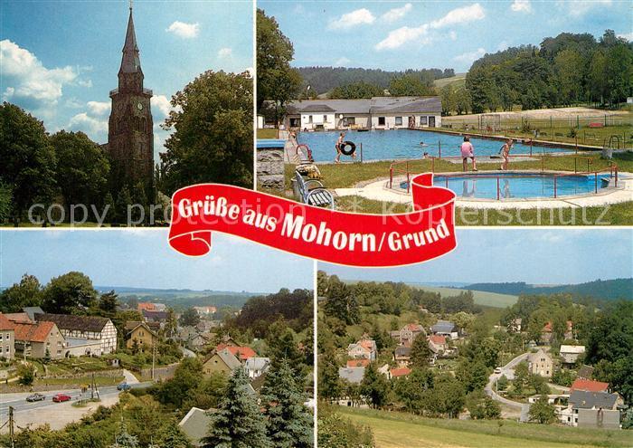 AK / Ansichtskarte Mohorn Kirche Teilansicht Grund Waldbad Teilansicht Mohorn
