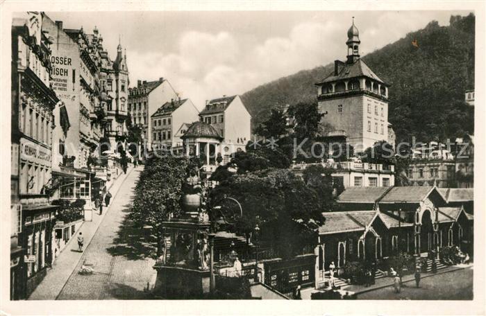 AK / Ansichtskarte Karlsbad_Eger Markt mit Aufgang zum Schlossberg Karlsbad_Eger