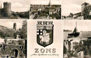 AK / Ansichtskarte Zons Kroetschenturm Teilansicht Rheinturm Muehlenturm Schlosstor Rheinpartie Rheinstrasse Zons