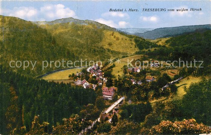 AK / Ansichtskarte Treseburg_Harz Blick vom weissen Hirsch ins Bodetal Treseburg Harz