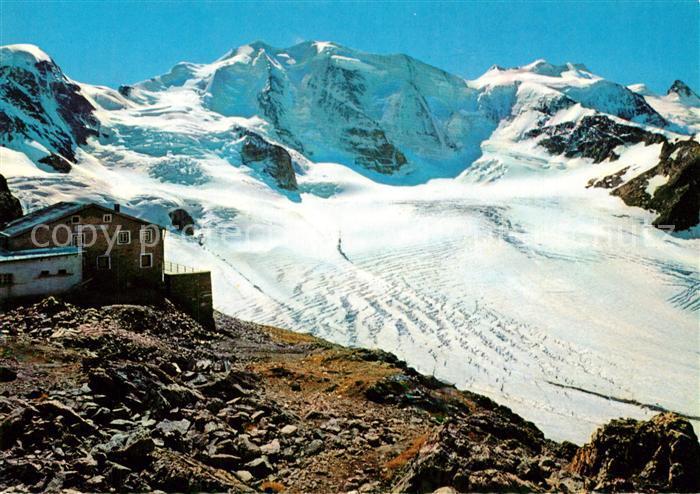AK / Ansichtskarte Pontresina Diavolezza Berghuette Persgletscher Piz Cambrena Piz Palue Bellavista Crast aguzza Pontresina