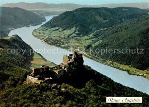 AK / Ansichtskarte Aggsbach Dorf Burgruine Aggstein Wachau Donau Fliegeraufnahme Aggsbach Dorf