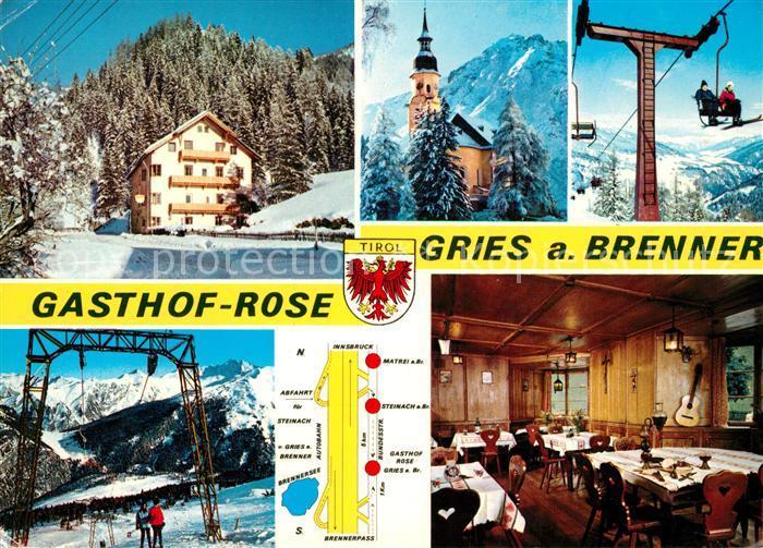 AK / Ansichtskarte Gries_Brenner Gasthof Rose Wintersportplatz Alpen Kirche Gries Brenner