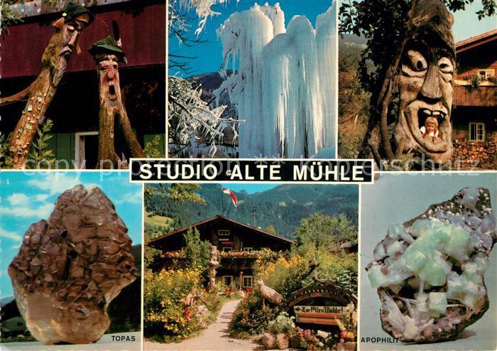 AK / Ansichtskarte Mayrhofen_Zillertal Studio Alte Muehle Mineralien Edelstein Gemaelde Schnitzereien Eisberge Handwerk Mayrhofen_Zillertal