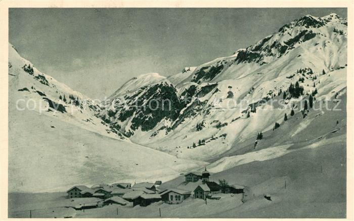 AK / Ansichtskarte Stuben_Vorarlberg mit Flexenstrasse im Winter Stuben Vorarlberg