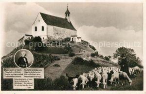 AK / Ansichtskarte Wurmlingen_Kapelle Bergkapelle Schaefer mit Schafherde Wurmlingen_Kapelle
