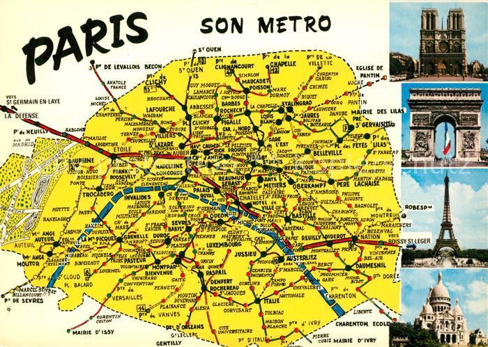 AK / Ansichtskarte Paris Landkarte Metroverbindungen Sehenswuerdigkeiten der Stadt Paris