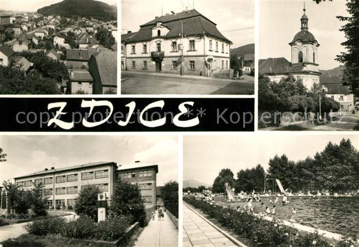 AK / Ansichtskarte Zdice Kirche Rathaus Schwimmbad  Zdice