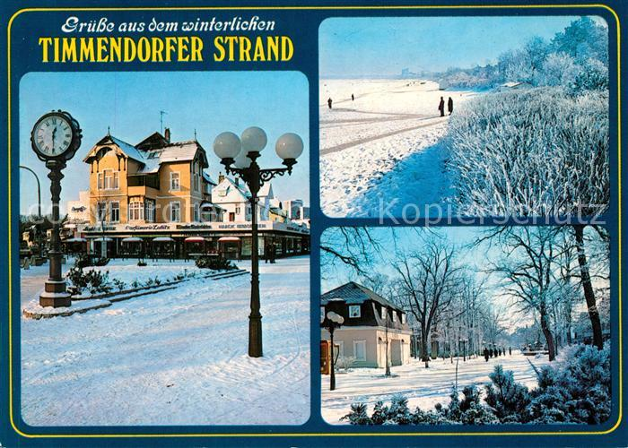 AK / Ansichtskarte Timmendorfer_Strand Winterlandschaft Strand Promenade Standuhr Timmendorfer_Strand