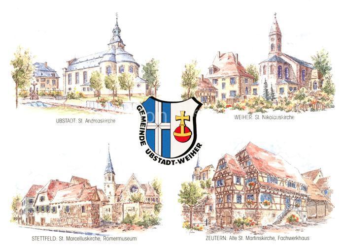 AK / Ansichtskarte Ubstadt Weiher Kirchen Roemermuseum Weiher Stettfeld Zeutern Ubstadt Weiher